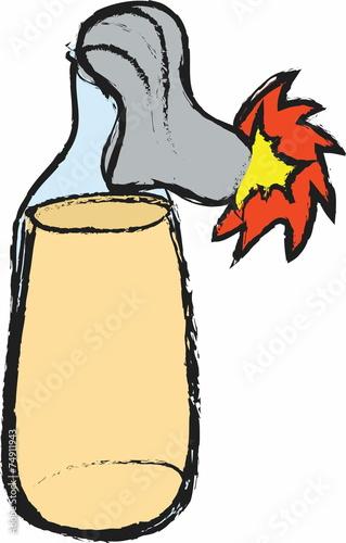 cartoon molotov cocktail,
