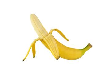 close up of peeled fresh banana isolated over white