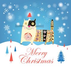 Christmas card with a cat