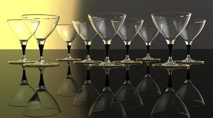 Martini glasses on a dark background, crystal.