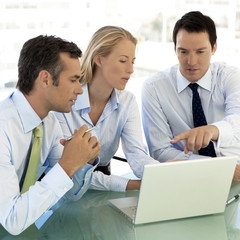 Business partners using laptop together