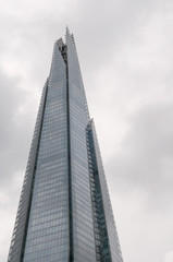 Shard building in London during cloudy day