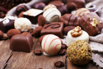 Different chocolates with coffee beans