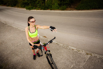 Image of a beautiful woman on the bike
