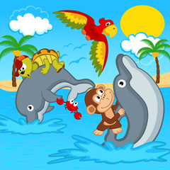 animals riding on dolphins - vector illustration, eps