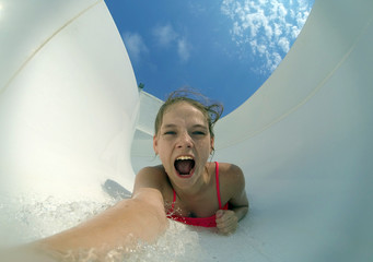 extreme selfi girl in the water flow