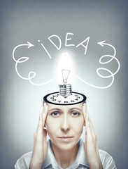 Woman generates idea.