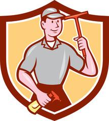 Window Washer Cleaner Squeegee Shield Cartoon