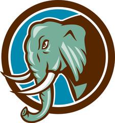 Elephant Head Side Circle Cartoon
