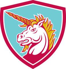 Angry Unicorn Head Shield Cartoon