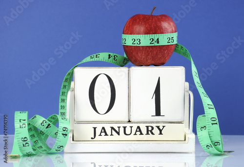 Leinwandbild Motiv Happy New Year healthy slimming weight loss concept