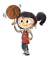 niña jugando con una pelota