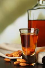 Dessert liqueur Amaretto with almond nuts,