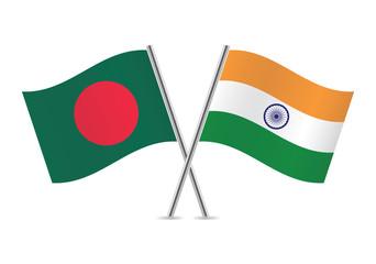 Bangladesh and Indian flags. Vector illustration.