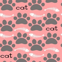 Cat Textile Pattern. Vector seamless.