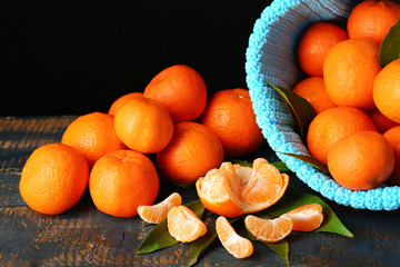 Fresh ripe mandarins in color bag,
