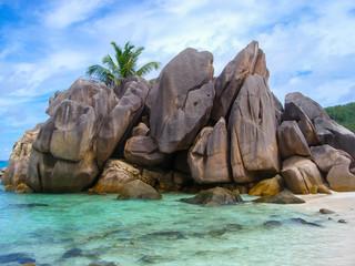 Rocks and wonderful sea of La Digue, Seychelles island