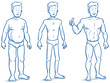 Three different men, fat, skinny and muscular. Fitness studio