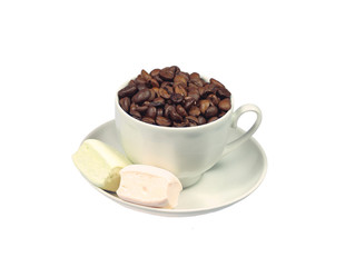 Coffee Beans in a Cup and Marshmallows on White, Close up