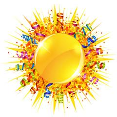 Confetti and serpentine sun