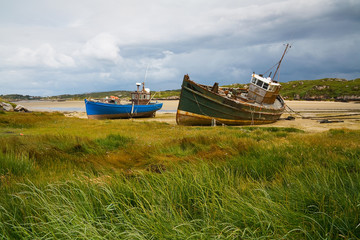 Old fishing boats near Kincasslagh in Donegal, Ireland.