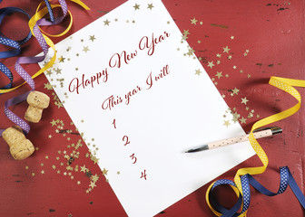 Happy New Year Resolutions planning and goal list