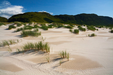 Sand dunes on Maghara strand in Donegal, Ireland.