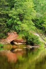 Sandstone cliffs in Gauja national park, Latvia
