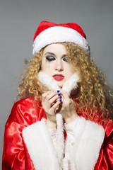 sad Santa - beautiful curly girl