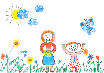 Child's drawing of girls playing with flowers on meadow.