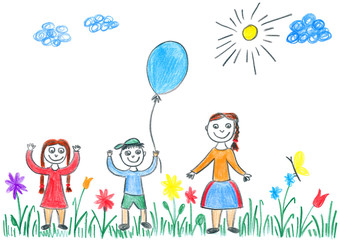 Child's drawing of kids playing with blue balloon on meadow.