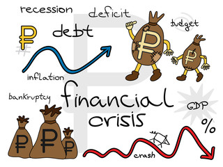 Russian financial crisis, ruble in patched money bags.