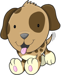 Cute Puppy Dog Vector Illustration Art