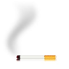 Sigaretta accesa con fumo