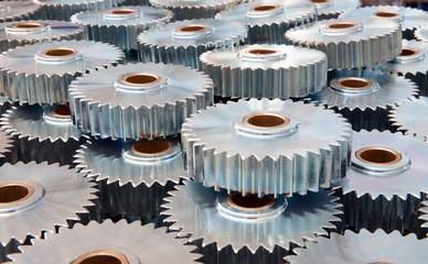 Closeup of many metal gears