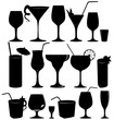 Glass collection - vector silhouette. Cocktail party icons set. - 74919144