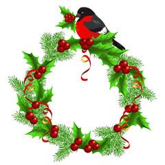 Christmas  wreath  with bullfinch
