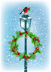Lantern with bullfinch and Christmas wreath