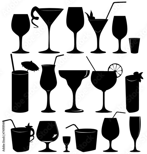 Leinwandbild Motiv Glass collection - vector silhouette. Cocktail party icons set.