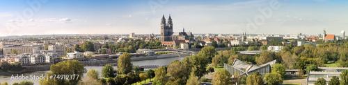 Leinwanddruck Bild Panorama von Magdeburg 07127