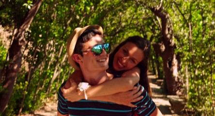 Pretty Young Couple Boyfriend Girlfriend Enjoying Summer Park
