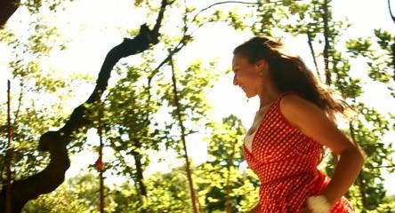 Pretty Young Female Model Running Park Happy Sun Shine Summer