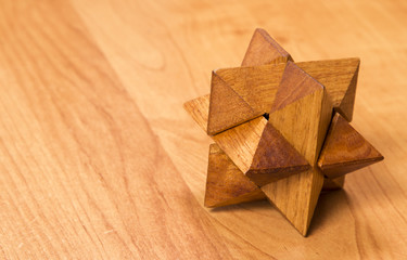 wooden puzzle star-shaped polyhedron