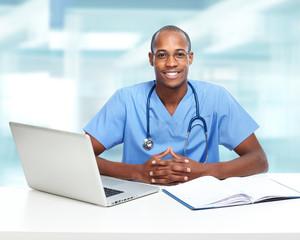 African-American black doctor man.