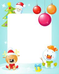christmas frame with snowman, xmas tree, ball and reindeer