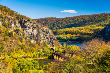 View of train bridges and the Potomac River in Harper's Ferry, W