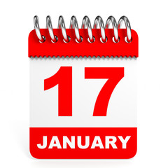 Calendar on white background. 17 January.