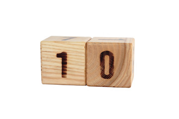 Number 10 on the wooden cube