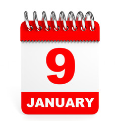 Calendar on white background. 9 January.