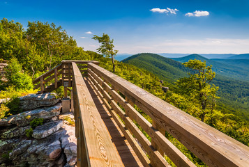 Walking bridge and view of the Appalachians from Big Schloss, in